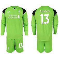 2018-19 Liverpool #13 ALISSON Green Long Sleeve Goalkeeper Soccer Jersey