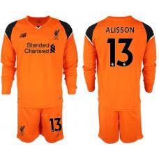 2018-19 Liverpool #13 ALISSON Orange Long Sleeve Goalkeeper Soccer Jersey
