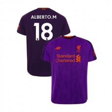 Liverpool 2018-19 Away #18 Alberto Moreno Purple Authentic Jersey