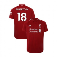 Liverpool 2018-19 Home #18 Alberto Moreno Red Authentic Jersey