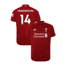 Liverpool 2018-19 Home #14 Jordan Henderson Red Authentic Jersey