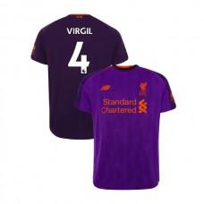 Liverpool 2018-19 Away #4 Virgil van Dijk Purple Authentic Jersey