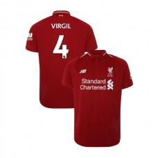 Liverpool 2018-19 Home #4 Virgil van Dijk Red Authentic Jersey