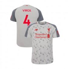 Liverpool 2018-19 Third #4 Virgil van Dijk Light Gray Authentic Jersey