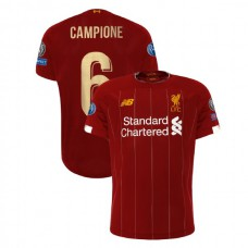 Liverpool European UCL Gold #6 Campione Red Authentic Jersey