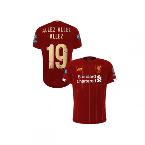 Youth Liverpool European UCL Gold #19 ALLEZ ALLEZ ALLEZ Red Youth Authentic Jersey