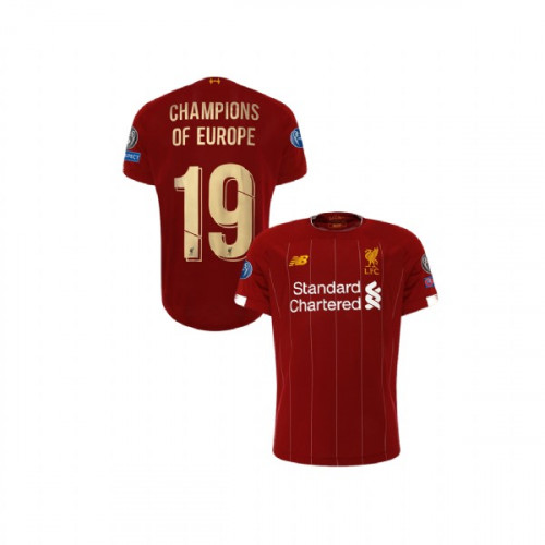 Youth Liverpool European UCL Gold #19 Champions of Europe Red Youth Authentic Jersey