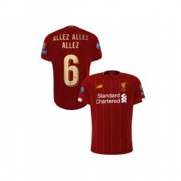 Youth Liverpool European UCL Gold #6 ALLEZ ALLEZ ALLEZ Red Youth Replica Jersey