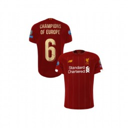 Youth Liverpool European UCL Gold #6 Champions of Europe Red Youth Authentic Jersey
